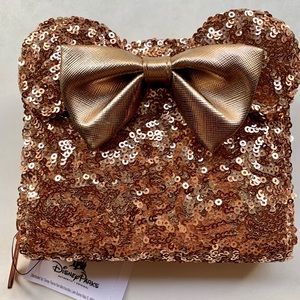 Disney Loungefly Rose Gold Pink Bow Wallet Minnie